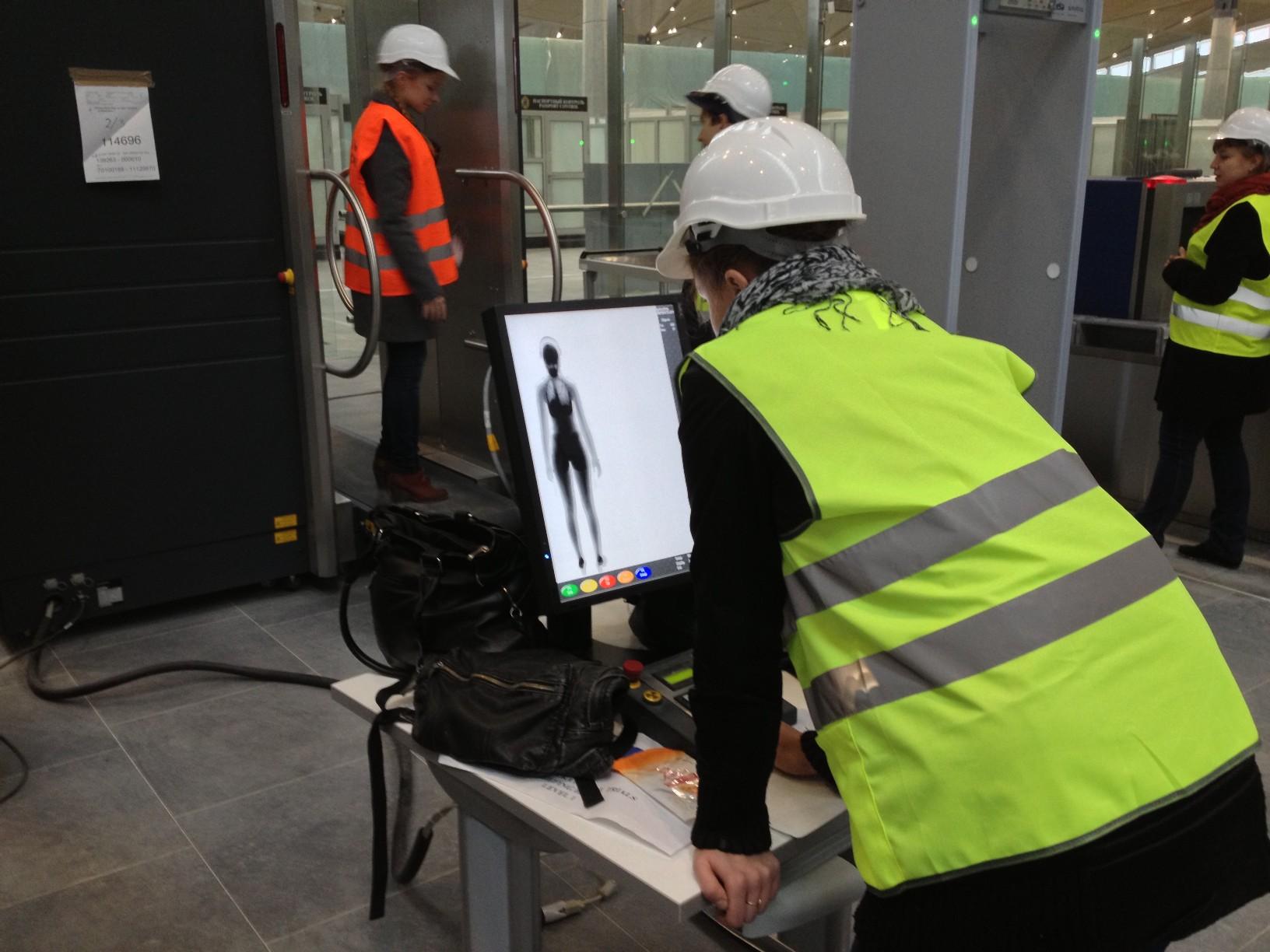 Рентгеновский сканер на предполетном досмотре нового терминала Пулково